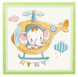 Kinderzimmer Poster - Elefant im Hubschrauber - 20 x 20 cm - Mit 3D Holz Rahmen - Babyzimmer